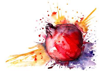 Fruit garnet, pomegranate watercolors. Splash, spray paint, isolated on white background.