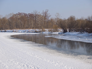 Small small river in the winter