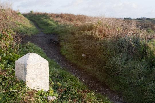 White milestone marker