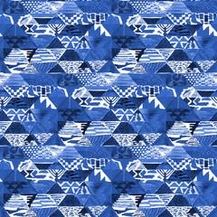 Watercolor indigo batik shibori pattern. Traditional geometric kilim pattern in watercolour style.