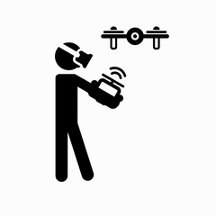 Sticker human figure, the control drone. In man wearing virtual glasses in the hands of the remote control. For pictograms.