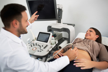 Ultrasound consultation at gynecologist clinic