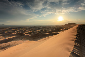 Sunset over the Gobi desert, dune Hongoryn, Mongolia