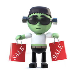 3d Halloween frankenstein monster goes to the sales