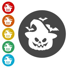 Set of Halloween stickers. Vector