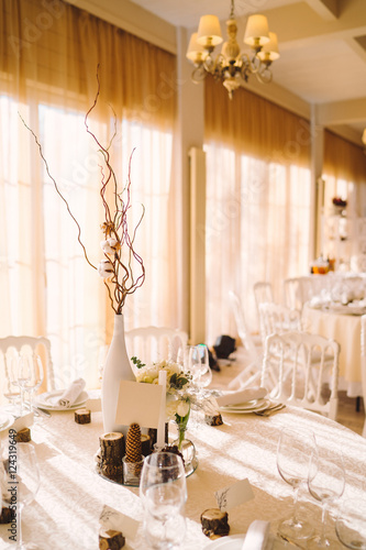 Table Setting At Winter Wedding Reception Floral Composition