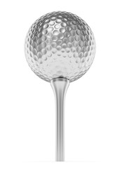 Silver golf ball on tee isolated on white