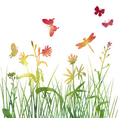 multicolor silhouettes of flowers and grass with butterflies