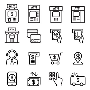 ATM icon set in thin line style