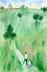 Watercolor painting. Illustration of summer landscape with old tower, green meadow and  trees.