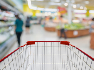 Shopping cart with Grocery store blur background