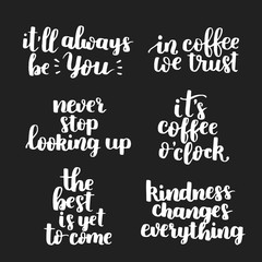 Set of vector motivational quotes about lifestyle. White ink on dark isolated background.
