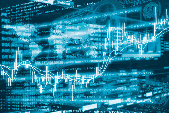 Algorithmic investment and trading concept. Double exposure of stockgraph, trading data and computer coding.