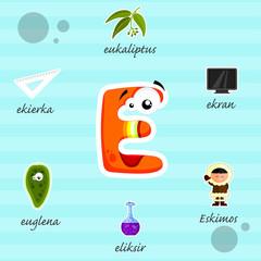Literka E i słowa z nią związane