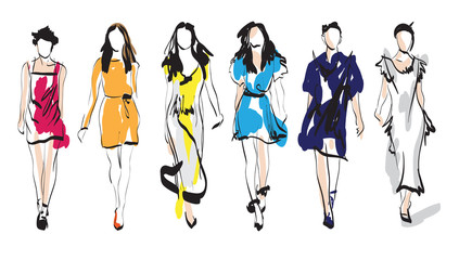 Fashion models. Sketch.