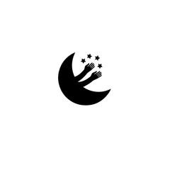 Moon icon, graphic, symbol, logo, Vector.