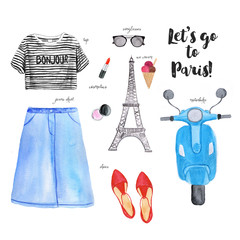 Summer outfit. Hand drawn watercolor fashion illustration with striped top, skirt, cosmetics, shoes,ice cream, motorbike. Let's go to Paris. Travel poster.