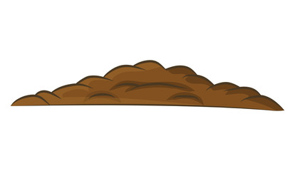 Pile of ground, heap of soil - vector illustration isolated on w
