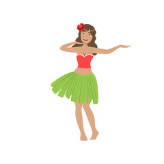 Woman Dancing Hula Hawaiian Vacation Classic Symbol