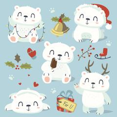 vector cartoon style cute polar bear set