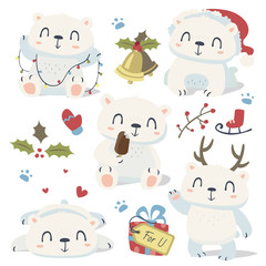 vector cartoon style cute polar bear set