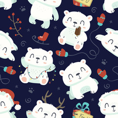 vector cartoon style cute polar bear seamless pattern