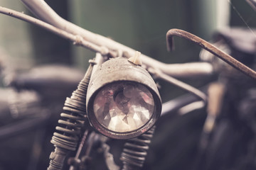 Close up headlight of old vintage bicycle