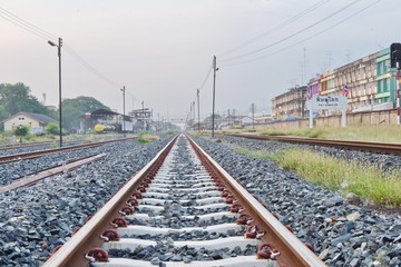 Railroad at the morning : The State Railway of Thailand is the state-owned rail operator in Thailand.