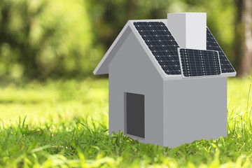 Illustration 3D House and Bicycles with Solar Energy Panels on t