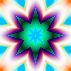 Turquoise and purple star fractal