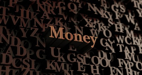 Money - Wooden 3D rendered letters/message.  Can be used for an online banner ad or a print postcard.