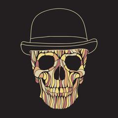 Vector hand drawn skull illustration. Dandy style skull for Halloween, Day of the dead t-shirt, poster design.