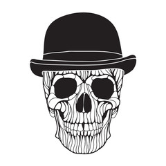 Vector hand drawn skull illustration. Dandy style skull for Halloween, Day of the dead t-shirt, poster design.