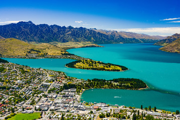 panoramic view of glacier lake wakatipu at Queenstown
