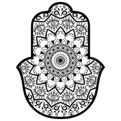 "Vector hamsa hand drawn symbol. Decorative pattern in oriental style for the interior decoration and drawings with henna. The ancient symbol of the "" Hand of Fatima ""."