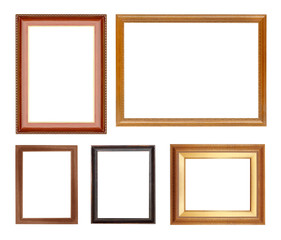 collection wooden  frame isolated on white