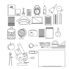 vector illustration of school supplies. Thin line version.