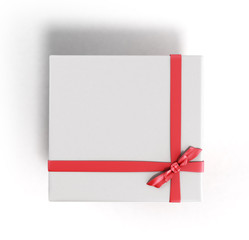 White Square Gift Box close with Red Ribbon and Bow top 3d rende