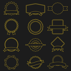Premium quality outline labels collection over black background