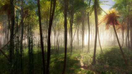 Tropical forest with palm trees in mist.