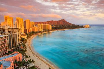 Honolulu, Hawaii. Skyline of Honolulu, Diamond Head & Waikiki Beach.