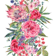 Watercolor bouquet of roses, protea and wildflowers