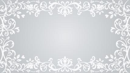 Floral plants Frame - Silver color