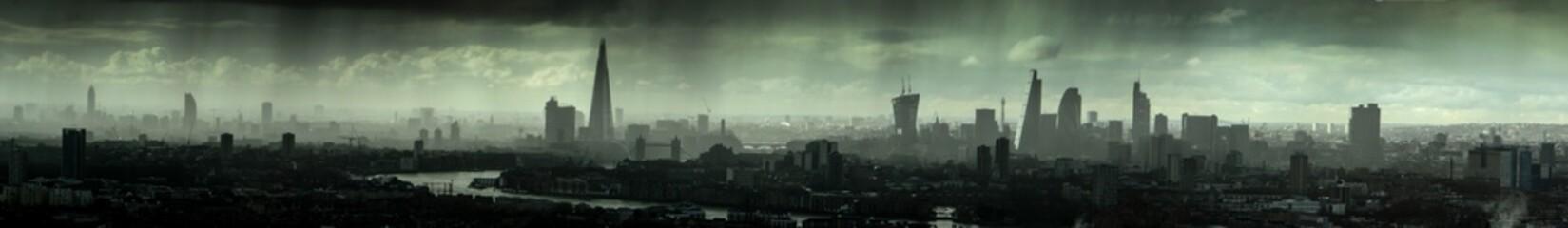 Printed kitchen splashbacks Khaki London Skyline in the rain