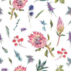 Watercolor seamless pattern with roses, protea and wildflowers
