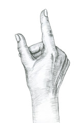 Hand gesture of a single pointing finger. Hand drawing in pencil. Illustration isolated on white background.