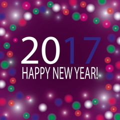 Happy New Year 2017 greeting card. Snowflake background.