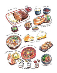Variery of Japanese food hand painting watercolor illustration