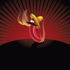 Cartoon Mexican Jalapeno background. EPS 10 vector.