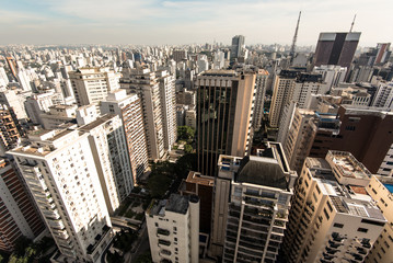 Aerial view of residential buildings in an expensive neighborhood in Sao Paulo